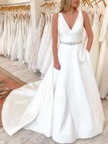 Satin Ball Gown V Neck White Wedding Dresses with Pockets, Elegant Bridal Dress