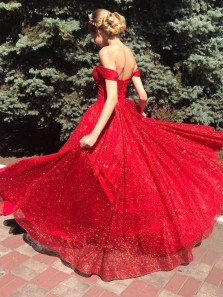 Cute A Line Sweetheart Off the Shoulder Red Sparkly Tulle Prom Gowns, Sweet 16 Dresses