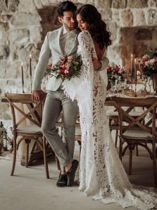 Bohemian Mermaid Long Sleeves Lace Beach Wedding Dresses