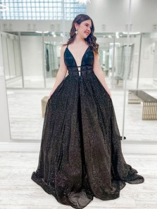 Sparkly Ball Gown Deep V Neck Black Sequins Tulle Prom Dresses, Black Prom Gowns