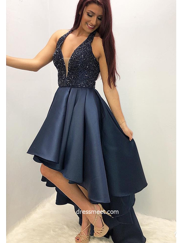 A Line V Neck Dark Navy Satin High Low Prom Dresses, Party Dresses with Beading