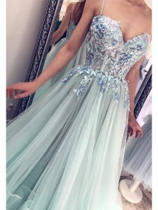 Cute Sweetheart Mint Tulle Prom Dresses with Appliques, Birthday Dresses