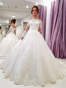 Ball Gown Off the Shoulder Long Sleeves Tulle Wedding Dresses with Appliques