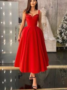 1950's Sweetheart Red Satin Tea Length Party Dresses, Short Prom Dresses