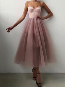 Fashion Cute A Line Sweetheart Spaghetti Straps Dusty Blush Party Dresses