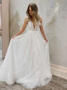 Fairy Ball Gown Deep V Neck Leaf Lace Wedding Dresses, Freedom Wedding Gowns