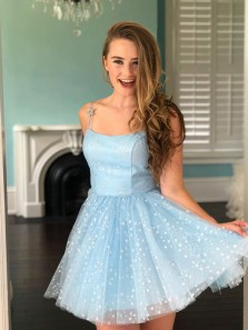2021 Cute Light Blue Stars Tulle Homecoming Dresses, Short  Sweet Party Dresses