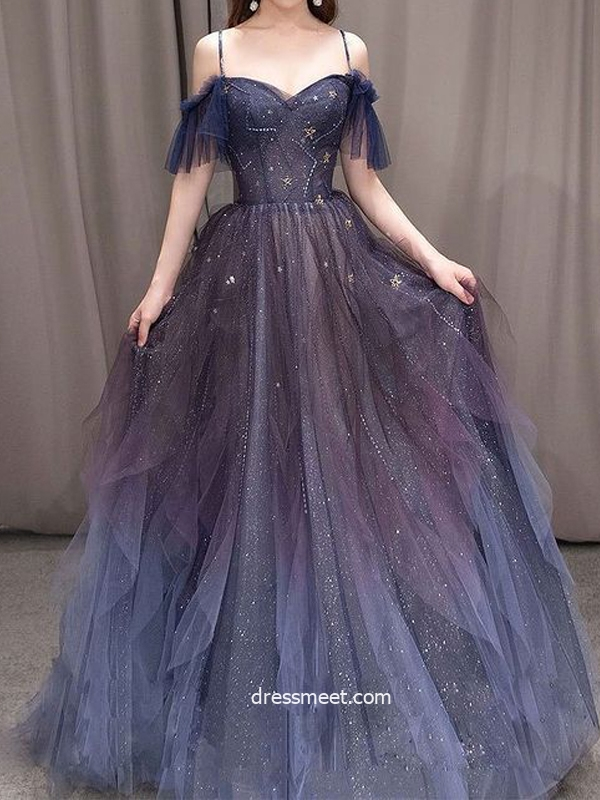 Cute A Line Off the Shoulder Dark Gradient Color Tulle Prom Dresses with Stars