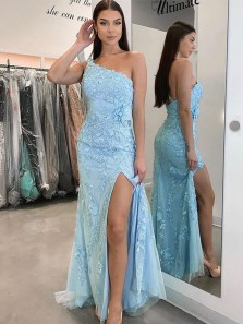 Charming Mermaid One Shoulder Light Blue Lace Prom Dresses with Split, Junior Prom Dresses