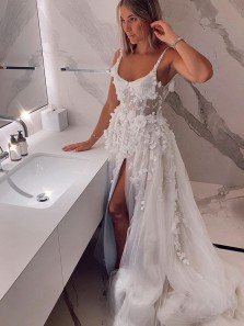 Fairy Ball Gown Scoop Neck Straps 3D Lace White Wedding Dresses with Split, Handmade Flowers Lace Wedding Gown 2021