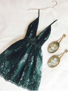 Cute A Line V Neck Dark Green Lace Short Homecoming Dresses, Short Lace Party Dresses, 2021 Cocktail Dresses