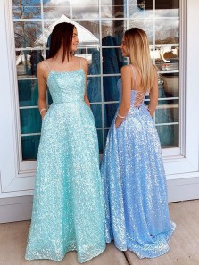 Sparkly A Line Scoop Neck Mint Sequins Prom Dress, Light Blue Long Prom Dress 2021 with Straps