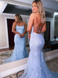 2021 Fashion Cute Mermaid Scoop Neck Cross Back Light Blue Long Prom Dress with Appliques