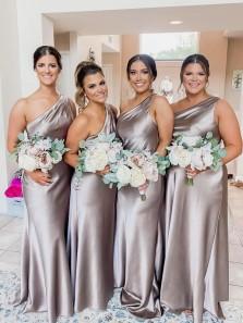 Chic Elegant One Shoulder Sheath Grey Silk Satin Bridesmaid Dress Under 100