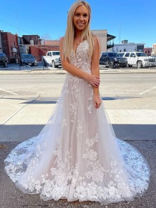 Fairy A Line V Neck Straps Lace Tulle Long Wedding Dress with Train, Freedom Lace Beach Bridal Dresses