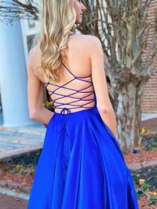 Cute A Line V Neck Cross Back Royal Blue Satin Prom Dresses with Pockets Under 100