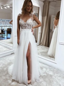 Fairy A Line V Neck Straps Tulle Split Wedding Dress with Lace, Beach Wedding Dress for 2021