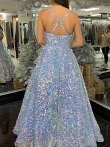 Sparkly A Line V Neck Straps Light Blue Sequins Prom Gowns with Pockets