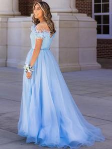 Cute A Line Off the Shoulder Light Blue Tulle Prom Dresses with 3D Flowers, Split Sweet 16 Dress, Princess Dress 2021