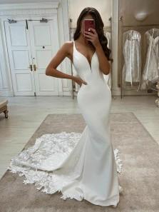 Elegant Mermaid V Neck Straps Soft Satin Wedding Dresses with Lace, Spring Bridal Dresses