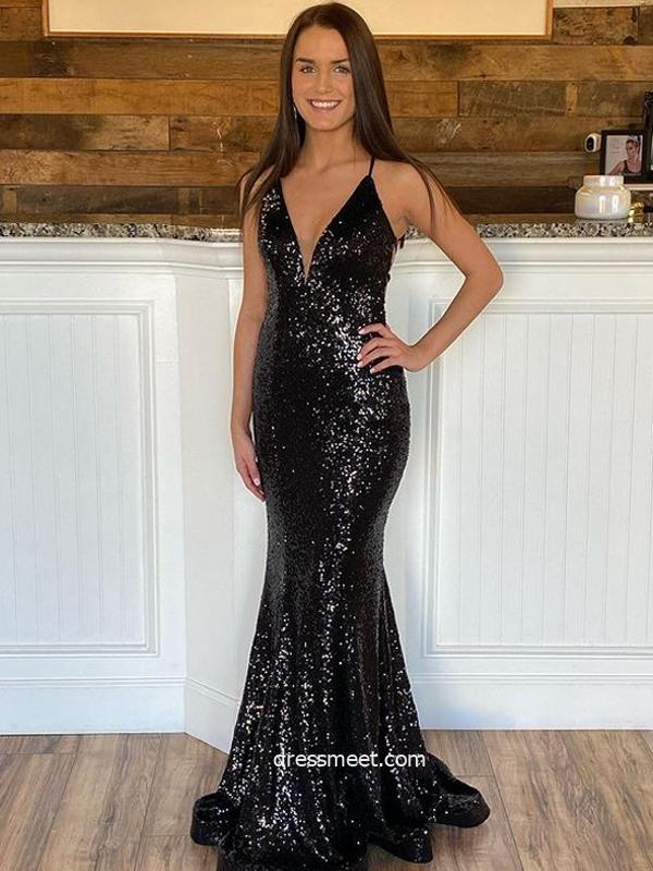 Sparkly Mermaid V Neck Black Sequins Prom Dress, Formal Evening Party Dresses