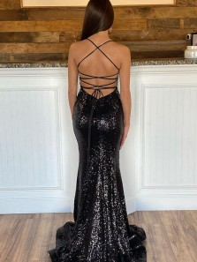 Sparkly Mermaid V Neck Black Sequins Prom Dress, Bodycon Formal Evening Party Dresses