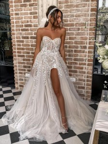 Gorgeous Ball Gown Sweetheart Lace Wedding Dresses with Split