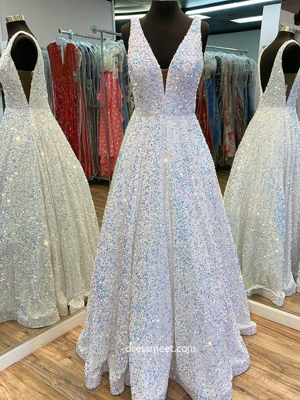 Sparkly Ball Gown V Neck White Sequins Prom Dresses, Long Prom Gowns with Pockets