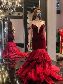 Gorgeous Mermaid Deep V Neck Dark Red Tulle Princess Dresses, Pageant Dresses