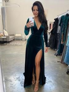 Elegant V Neck Long SLeeves Dark Green Velvet Evening Dresses with Split