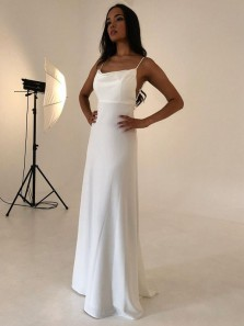 Elegant Sheath Cowl Neck Backless White Silk Satin Long Evening Dress, Romantic Wedding Dress