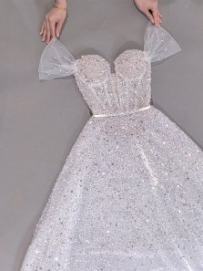 Sparkly Cute Sweetheart Sequins Prom Dress with Cap Sleeves, Birthday Party Dresses