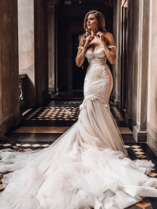 Fairy Mermaid Sweetheart Off the Shoulder Tulle Wedding Dresses with Lace & Appliques