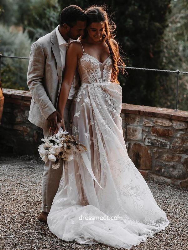 2021 Sweet A Line V Neck Spaghetti Straps Tulle Lace Wedding Dresses, Beach Wedding Dress