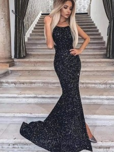 Charming Sexy Mermaid Scoop Neck Spaghetti Straps Black Sequins Prom Dress, Sparkly Evening Dress with Split