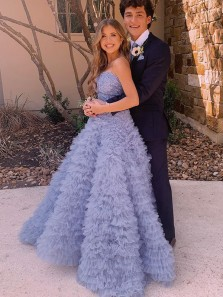 Gorgeous Ball Gown Strapless Grey Purple Tulle Tiered Prom Dresses, Sweet 16 Dresses