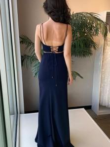 Sexy Mermaid Scoop Neck Spaghetti Straps Black Prom Dresses, Two Piece Split Evening Party Dress