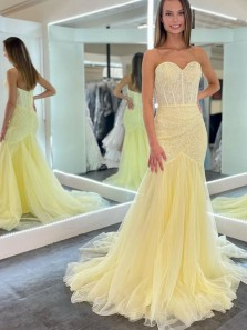 Cute Mermaid Sweetheart Daffodil Tulle Prom Dresses with Lace