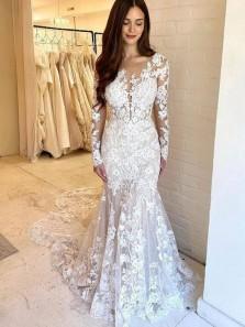 Gorgeous Mermaid Deep V Neck Long Sleeves Lace Wedding Dresses, Elegant Bridal Dress