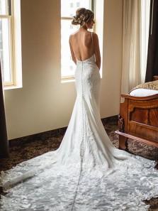 Elegant Mermaid V Neck Spaghetti Straps Wedding Dresses with Appliques, Gorgeous Bridal Dress