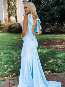 Charming Mermaid V Neck Silk Satin Light Blue Prom Dresses with Beading