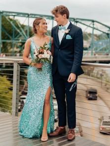 Sparkly Mermaid V Neck Aquamarine Sequins Prom Dress with Split, Cross Back Junior Party Dress