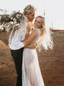 Romantic See Through V Neck Sequins Beach Wedding Dresses, Fairy White Sequins Bridal Dress