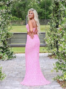 Cute Mermaid Two Piece Spaghetti Straps Pink Lace Prom Dresses, Fashion Senior Prom Dresses