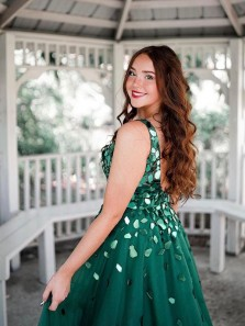 Cute Sparkly V Neck Ball Gown Dark Green Prom Dress with Glitter Beading