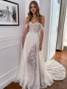 Freedom Sweetheart Tulle Wedding Dresses with Beading Appliques, Split Beach Bridal Dresses