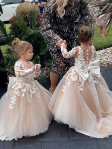 Sweet Cute Round Neck Long Sleeves Champagne Tulle Flower Girl Dresses with Appliques & Bow