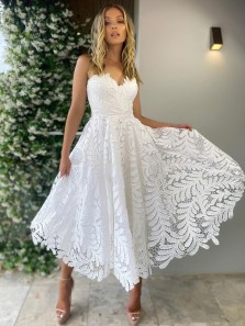Fashion A Line Sweetheart Lace White Wedding Party Dresses, Beach Wedding Dresses