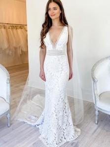 Popular Mermaid V Neck White Leaves Lace Wedding Dresses, 2021 Fashion Bridal Dresses