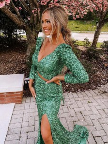 Fashion Mermaid V Neck Long Sleeves Green Sequins Prom Dress, 2021 Two Piece Prom Dresses